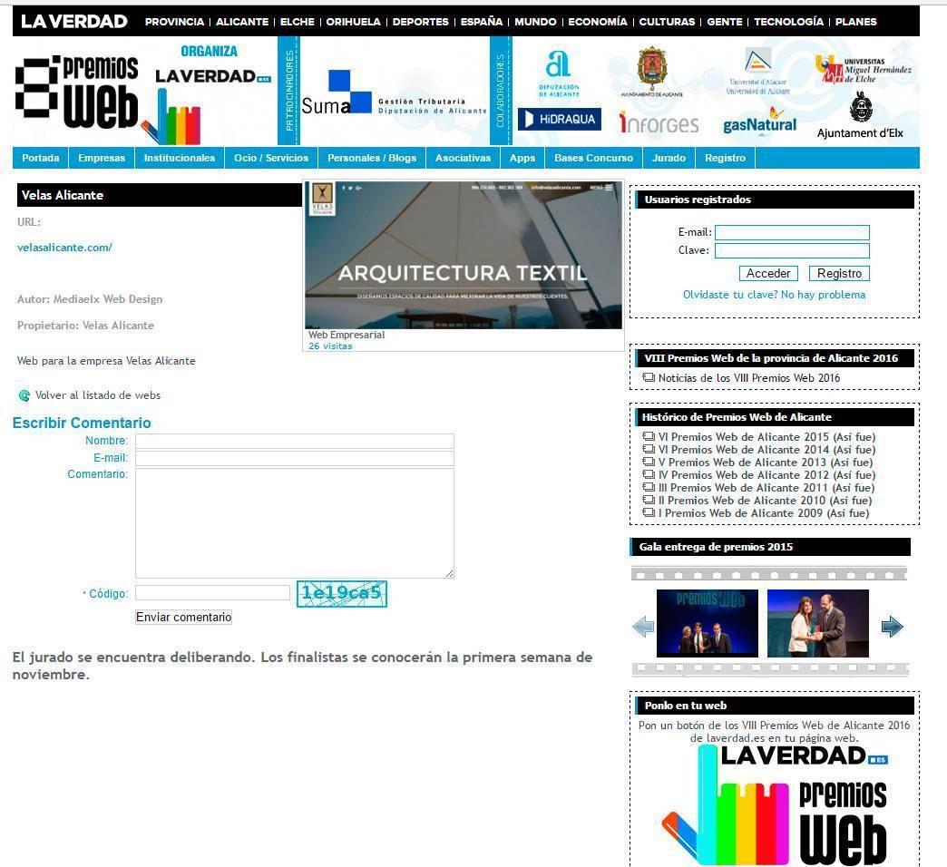 La web de Velas Alicante opta al premio a la mejor web de empresa