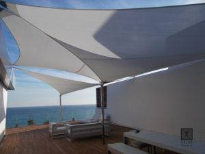 Tensed Shade Sail as a Differentiating element.