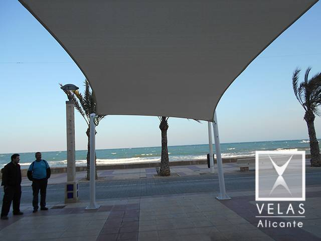 Installation of Tensile Sails in Campello ( shade sail )