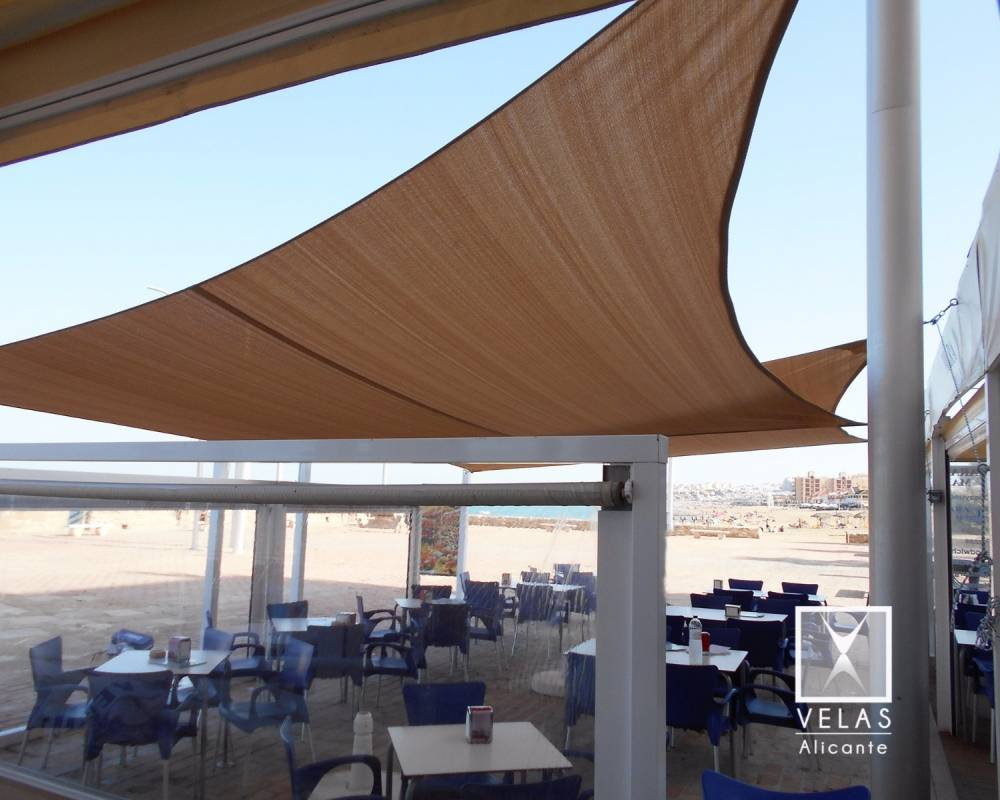 Tensile Shade Sails System on the beach La Mata in Torrevieja